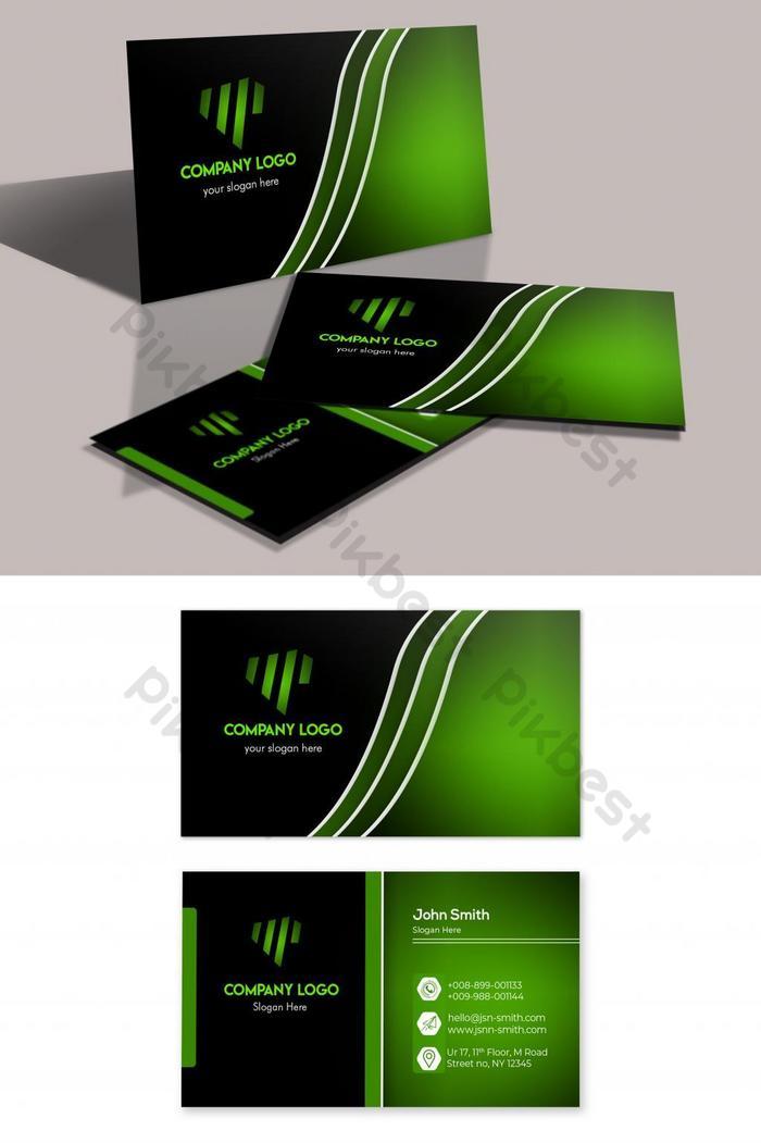 desain kartu bisnis glossy hijau