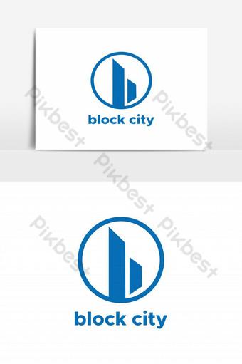 bloque ciudad resumen b logo vector elemento gráfico Elementos graficos Modelo EPS