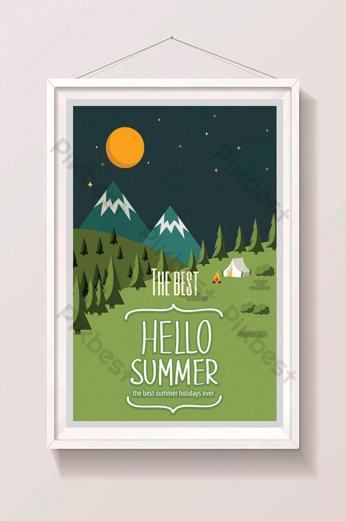 olá, ilustração do verão na pastagem à noite