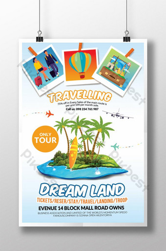Tour To Dream Land Poster templates Template PSD