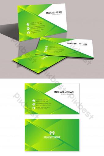 Conception de carte de visite élégante verte élégante Vecteur gratuit Modèle AI