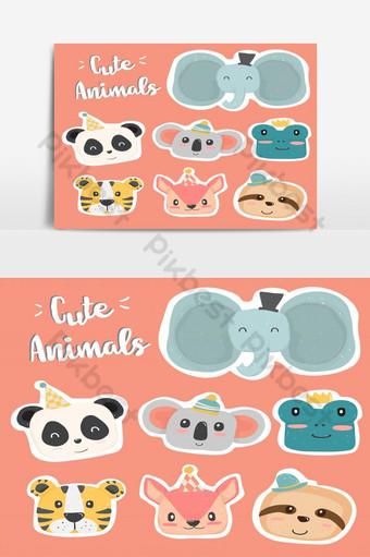 귀여운 손 파스텔 컬러 컬렉션 평면 벡터에서 야생 동물 머리 클립 아트 아이콘 그리기 일러스트 템플릿 AI