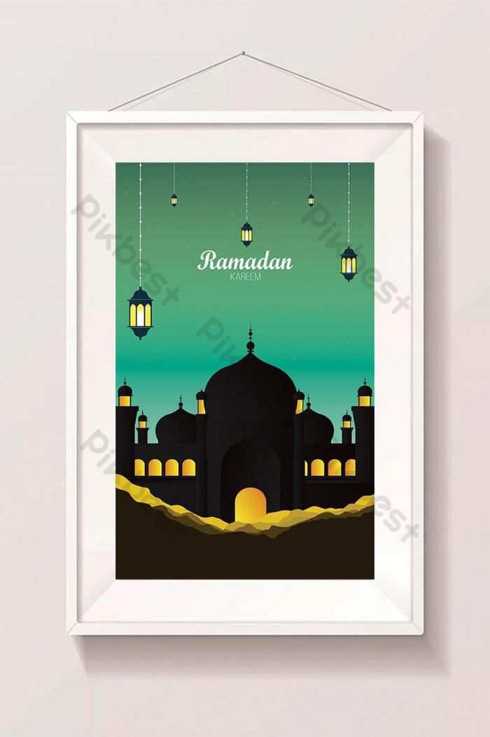 abstract ramadan kareem naka-istilong ilustrasyong islam