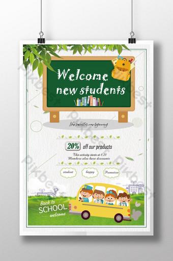 cartel de promoción escolar de dibujos animados Modelo PSD