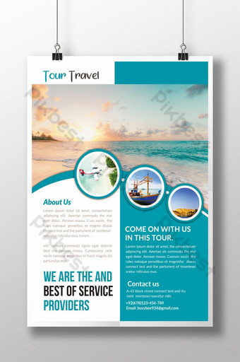 Tour Travel Blue Poster Template PSD