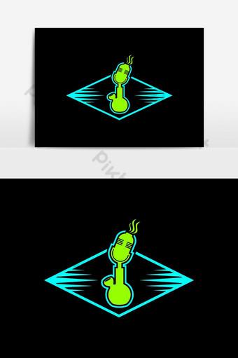 elemento gráfico de vector de logotipo de podcast de bong Elementos graficos Modelo EPS