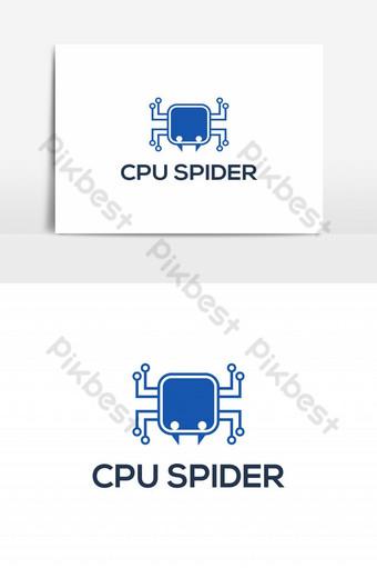 elemen grafis vektor cpu spider logo Elemen Grafis Templat EPS