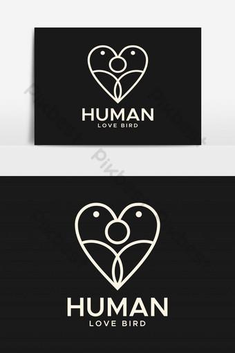 elemento gráfico de vector de logotipo abstracto de pájaro de amor humano Elementos graficos Modelo EPS