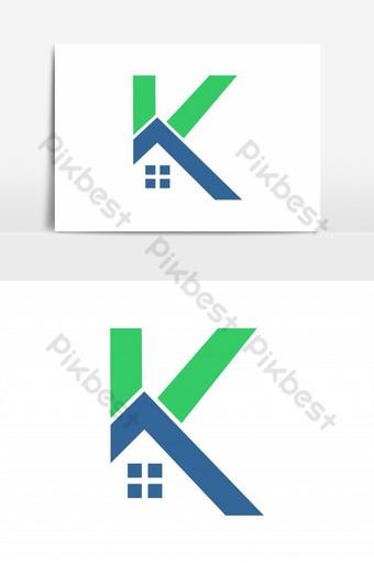 elemento gráfico del vector del logotipo de la casa k Elementos graficos Modelo EPS