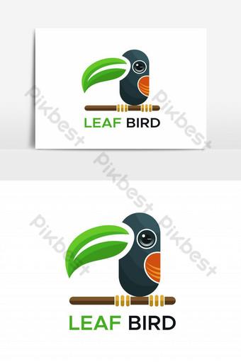 elemento gráfico de vector de logotipo de pájaro de hoja Elementos graficos Modelo EPS