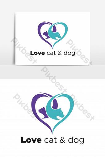 amor gato y perro logo vector elemento gráfico Elementos graficos Modelo EPS