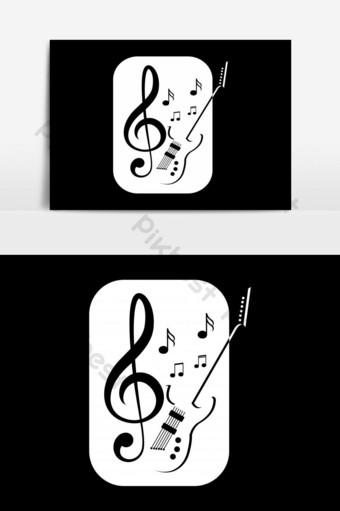 elemento gráfico de vector de logo de música de guitarra Elementos graficos Modelo EPS