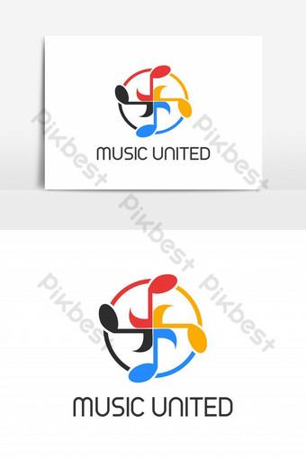 elemento gráfico de vector de logotipo de círculo unido de música Elementos graficos Modelo EPS