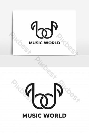 vector logo del mundo de la música Elementos graficos Modelo EPS