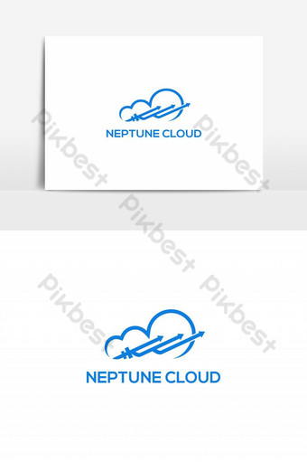 vektor logo awan trisula neptunus Elemen Grafis Templat EPS