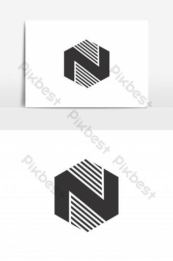 n vector logo negro hexagonal Elementos graficos Modelo EPS