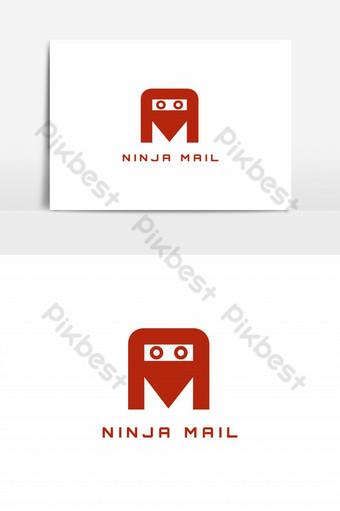 vector de logo de correo ninja Elementos graficos Modelo EPS