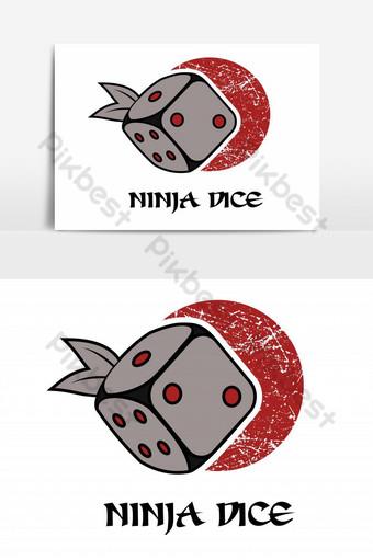 vector de logo de dados ninja Elementos graficos Modelo EPS