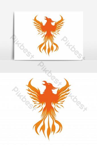 vector de logo de fuego de phoenix Elementos graficos Modelo EPS
