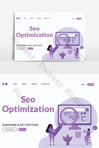 SEO optimizing vector landing page vector graphic element PNG Images Template AI