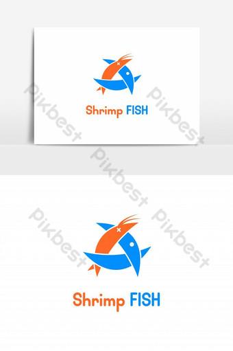 los peces comen camarones logo vector elemento gráfico Elementos graficos Modelo EPS