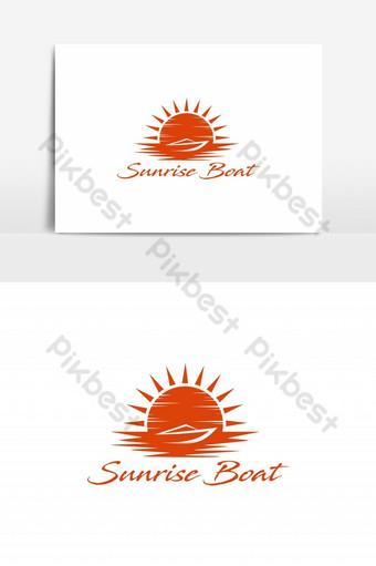 elemento gráfico de vector de logotipo de barco de amanecer Elementos graficos Modelo EPS