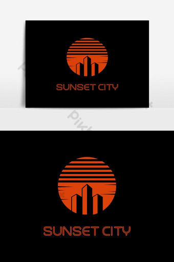elemento gráfico del vector del logotipo de la ciudad al atardecer Elementos graficos Modelo EPS