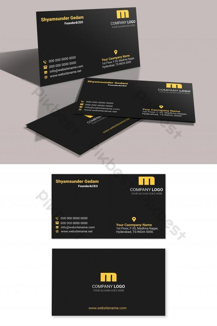 kartu bisnis gaya emas dalam tema gelap