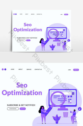 SEO optimization vector landing page vector graphic element PNG Images Template AI
