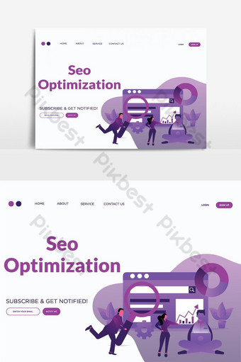 SEO Optimization vector landing page illustration vector graphic element PNG Images Template PSD