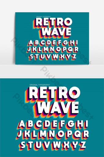 elemento gráfico de vector de fuente artística audaz vintage colorido Elementos graficos Modelo EPS