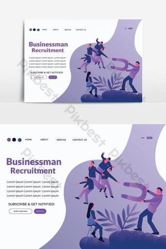 elemento gráfico de vector de página de aterrizaje de vector de reclutamiento de empresario Elementos graficos Modelo AI