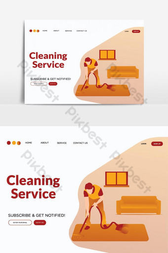 Cleaning Service landing page vector graphic element PNG Images Template AI