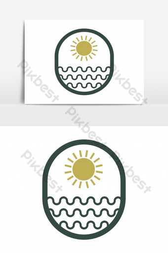 sun sea logo vector graphic element PNG Images Template EPS