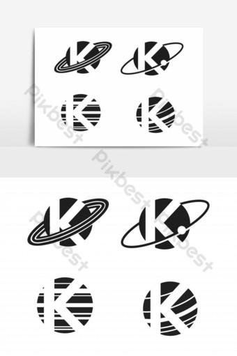 elemento gráfico del vector del logotipo de la letra k del planeta Elementos graficos Modelo EPS