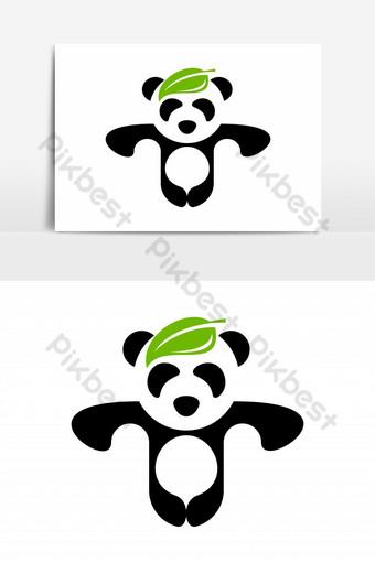 hoja en panda logo vector elemento gráfico Elementos graficos Modelo EPS