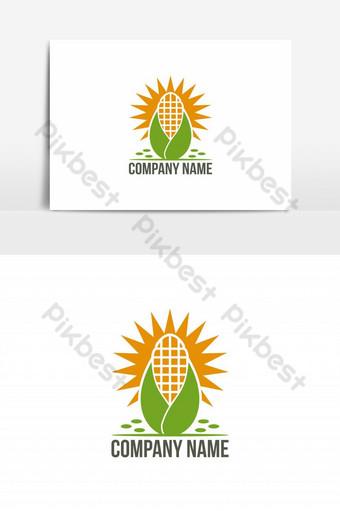 elemento gráfico de vector de logotipo de maíz de sol Elementos graficos Modelo EPS