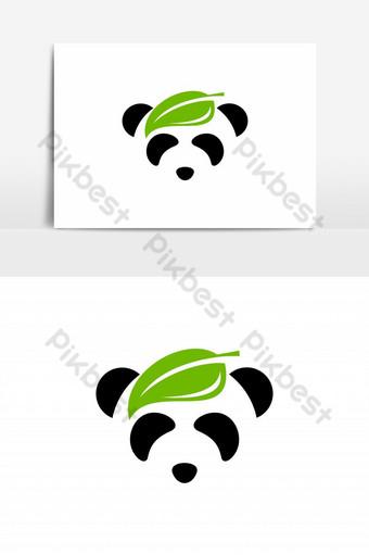 hoja en elemento gráfico de vector de logo de cabeza de panda Elementos graficos Modelo EPS