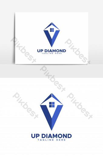 elemento gráfico de vector de logo de diamante de casa Elementos graficos Modelo EPS