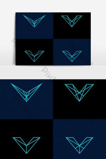 elemento gráfico de vector de logotipo de línea v Elementos graficos Modelo EPS