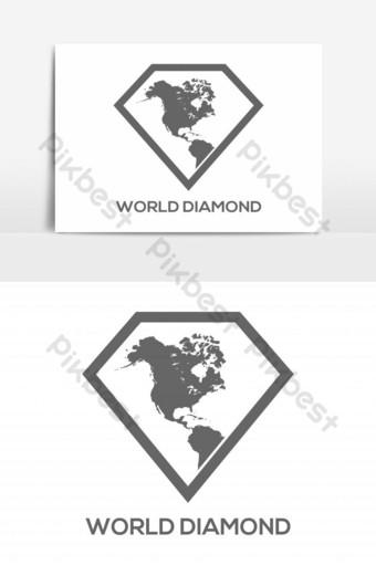 elemento gráfico del vector del logotipo del diamante del mapa Elementos graficos Modelo EPS