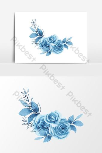 elemento gráfico de vector de ramo floral azul acuarela Elementos graficos Modelo PSD