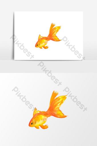 hermoso elemento gráfico de vector de peces de oro acuarela Elementos graficos Modelo PSD