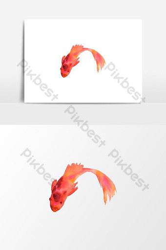 elemento gráfico de vector de peces de acuario acuarela Elementos graficos Modelo PSD