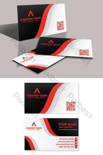 tarjeta de visita corporativa plantilla de eps de tema de color naranja Modelo AI