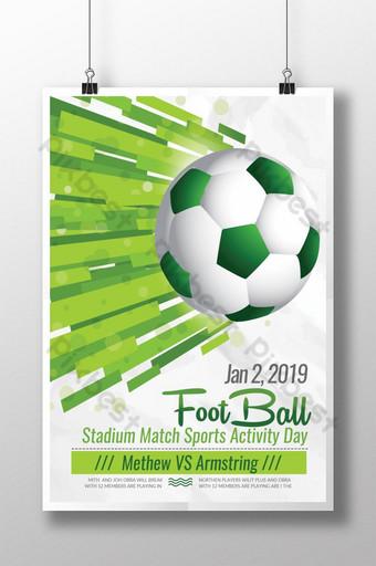 pôster de esporte de futebol verde Modelo PSD