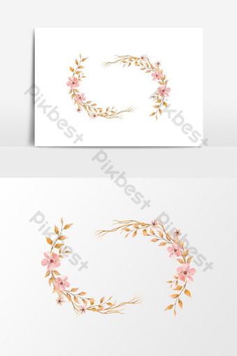 elemento gráfico de vector de guirnalda floral acuarela pintada a mano Elementos graficos Modelo PSD