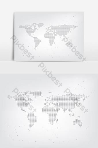 elemento gráfico de vector de mapa punteado global mundial Elementos graficos Modelo EPS