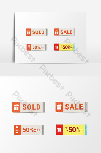Set of Sold Out Sale Tag Promotion Vector Graphic Element PNG Images Template PSD