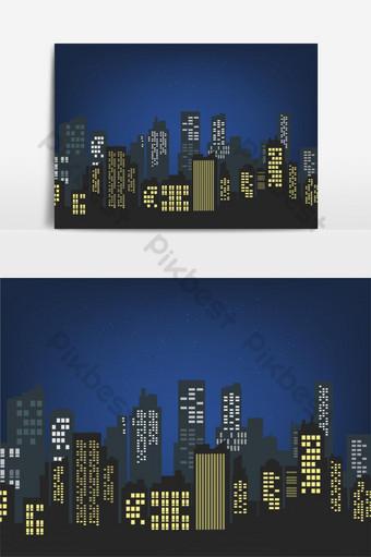 elemento gráfico de vector de edificio de paisaje urbano de noche Elementos graficos Modelo EPS